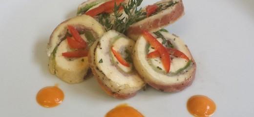 pollo con peperoni rossi e menta romana